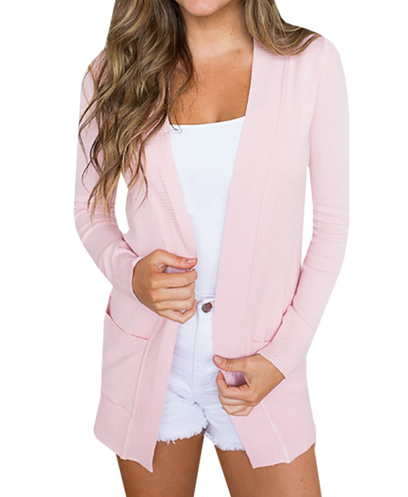 Womens Cardigans Casual Open Front Long Boyfriend Sweaters Lightweight Knit Cardigan with Pockets