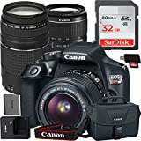 Canon EOS Rebel T6 Digital SLR Camera with EF-S 18-55mm IS II + EF 75-300mm f/4-5.6 III Kit Accessory Bundle + 32GB SD Card + Canon Case