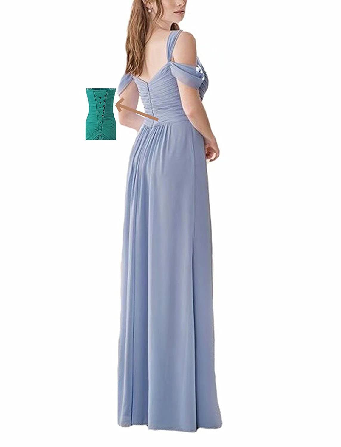 e629918874f TTdamai Women s Off Shoulder Bridesmaid Dresses Long Chiffon Side Slit Wedding  Party Prom Gowns at Amazon Women s Clothing store