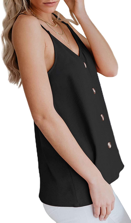 Aixy DamenTank Top Oberteil Bluse Tunika Top /ärmellose Bluse V-Ausschnitt Slip Damen Tshirt Spaghetti Top
