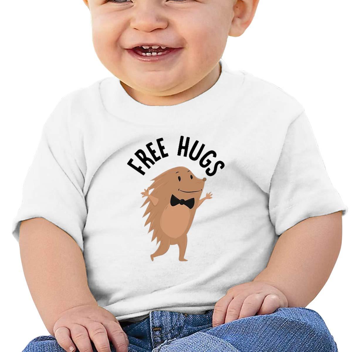 AiguanFree Hugs Toddler//Infant Short Sleeve Cotton T Shirts White