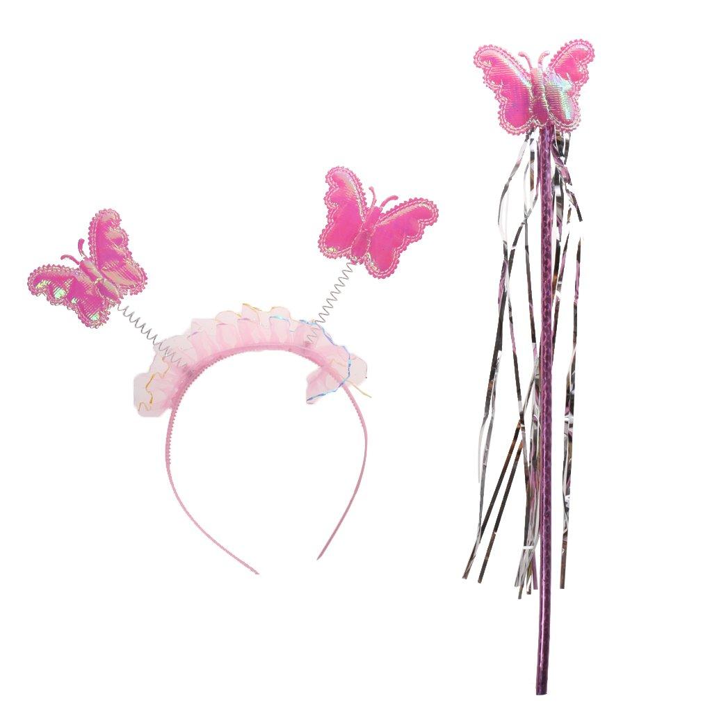 Rosado // Princesa Hada Alas Conjuntos Traje Del Ni/ño Ni/ñas Mariposa Varita Diadema