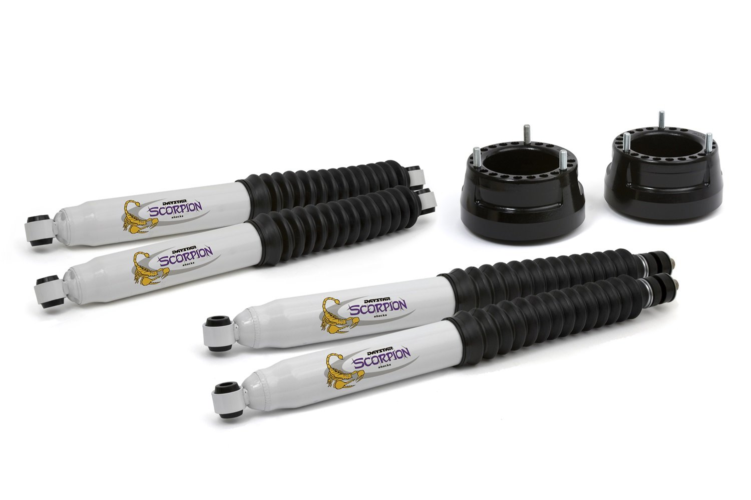 Daystar, Dodge Ram 2' Leveling Kit with front and rear shocks, fits 2005 to 2010 1500 Mega Cab, 1994 to 2013 2500/3500 4WD, all transmissions, all cabs KC09118BK, Black, Made in America Dodge Ram 2 Leveling Kit with front and rear shocks
