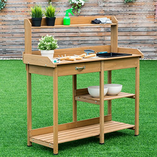 Giantex Potting Bench Table Wood Potting Bench for Garden Plant Lawn Patio Indoor Outdoor Workstation Flower Pot Bench w/Sink Drawer Hooks Open Shelves by Giantex (Image #1)