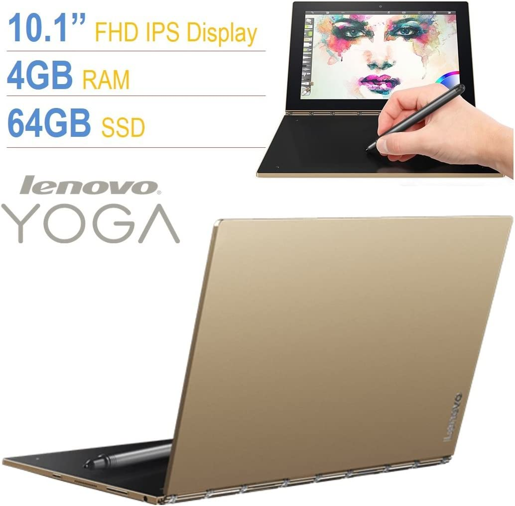"Lenovo Yoga Book 10.1"" Full HD Touchscreen IPS (1920x1200) 2-in-1 Tablet PC, Intel Atom x5-Z8550 Processor, 4GB RAM, 64GB SSD, Bluetooth, Halo Keyboard, Stylus, Android 6.0.1 Marshmallow- Gold"