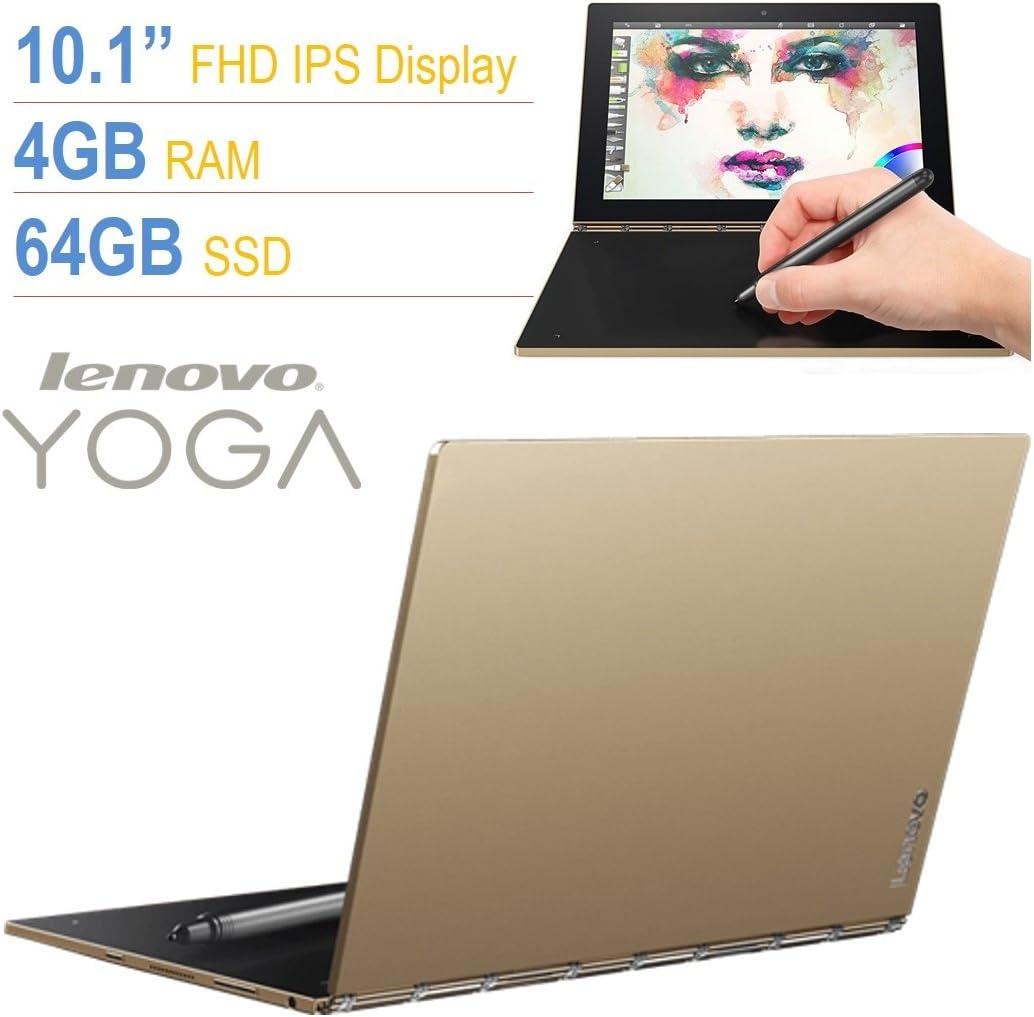 "Lenovo Yoga Book 10.1"" Full HD Touchscreen IPS (1920x1200) 2-in-1 Tablet PC, Intel Atom x5-Z8550 Processor, 4GB RAM, 64GB SSD, Bluetooth, Halo Keyboard, Stylus, Android 6.0.1 Marshmallow- Gold"
