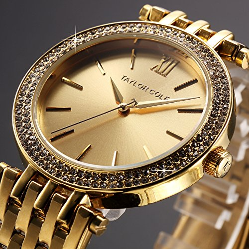 [Taylor Cole Fashion Analog Quartz Stainless Steel Luxury Lady Women Wrist Watch] (70s Ladies Fashion)