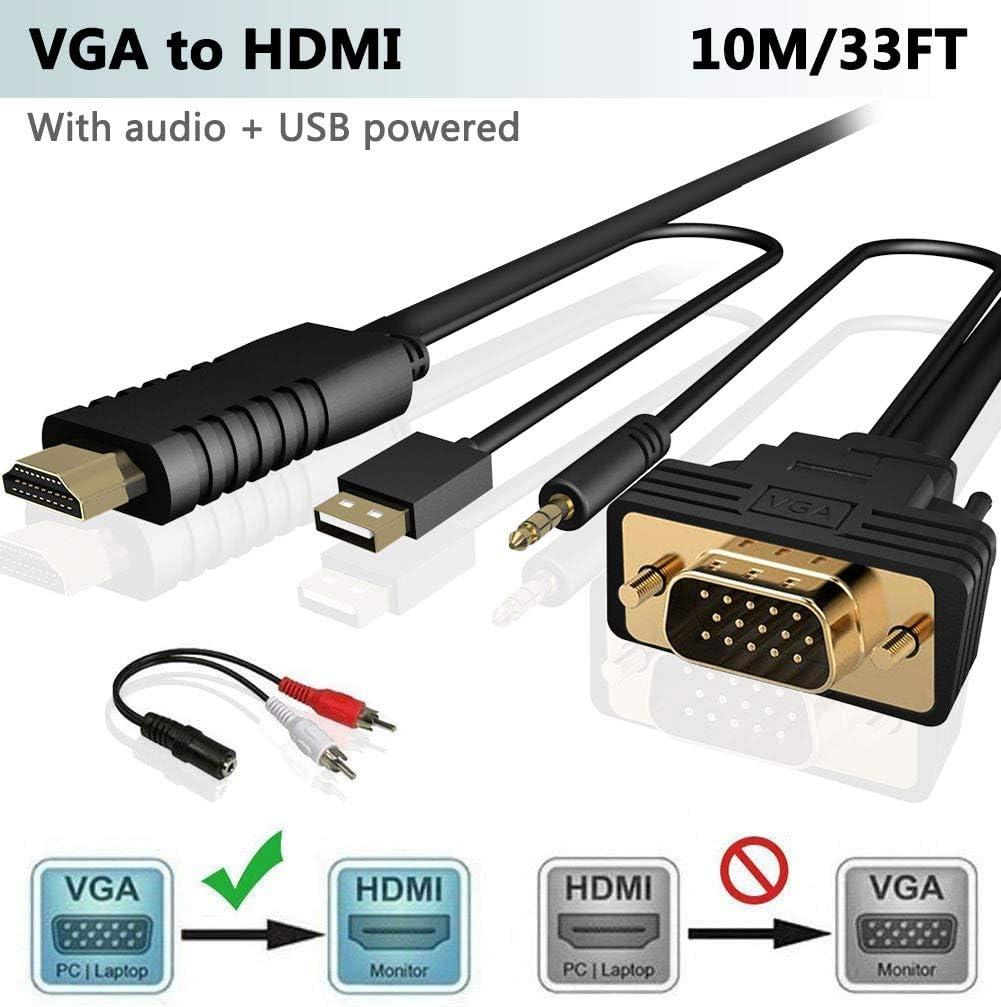 FOINNEX VGA a HDMI 10M/Metros Adaptador/Convertidor Cable con Audio,(Conversor de PC Antigua a TV/Monitor con HDMI Hembra Conector) Activo Hacer Cable VGA a HDMI Macho,1080P: Amazon.es: Informática