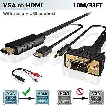 FOINNEX VGA a HDMI 10M/Metros Adaptador/Convertidor Cable con ...