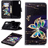 Gostyle iPhone Xs Leather Wallet Case,Black Golden Butterfly Pattern Book Style Flip Cover Built-in Card Holder Cash Pocket with Kickstand Magnetic Closure Anti-Scratch Shockproof Cover