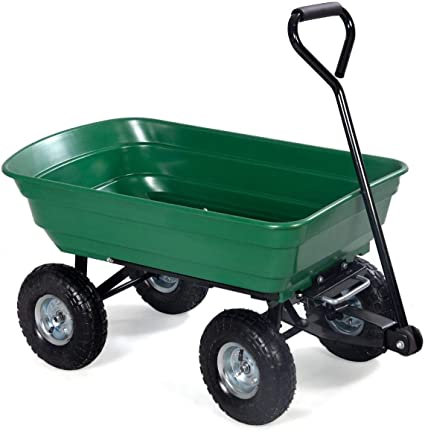 Heavy Duty Garden Dump Cart Dumper Wagon Carrier Utility Wheelbarrow Air Tires