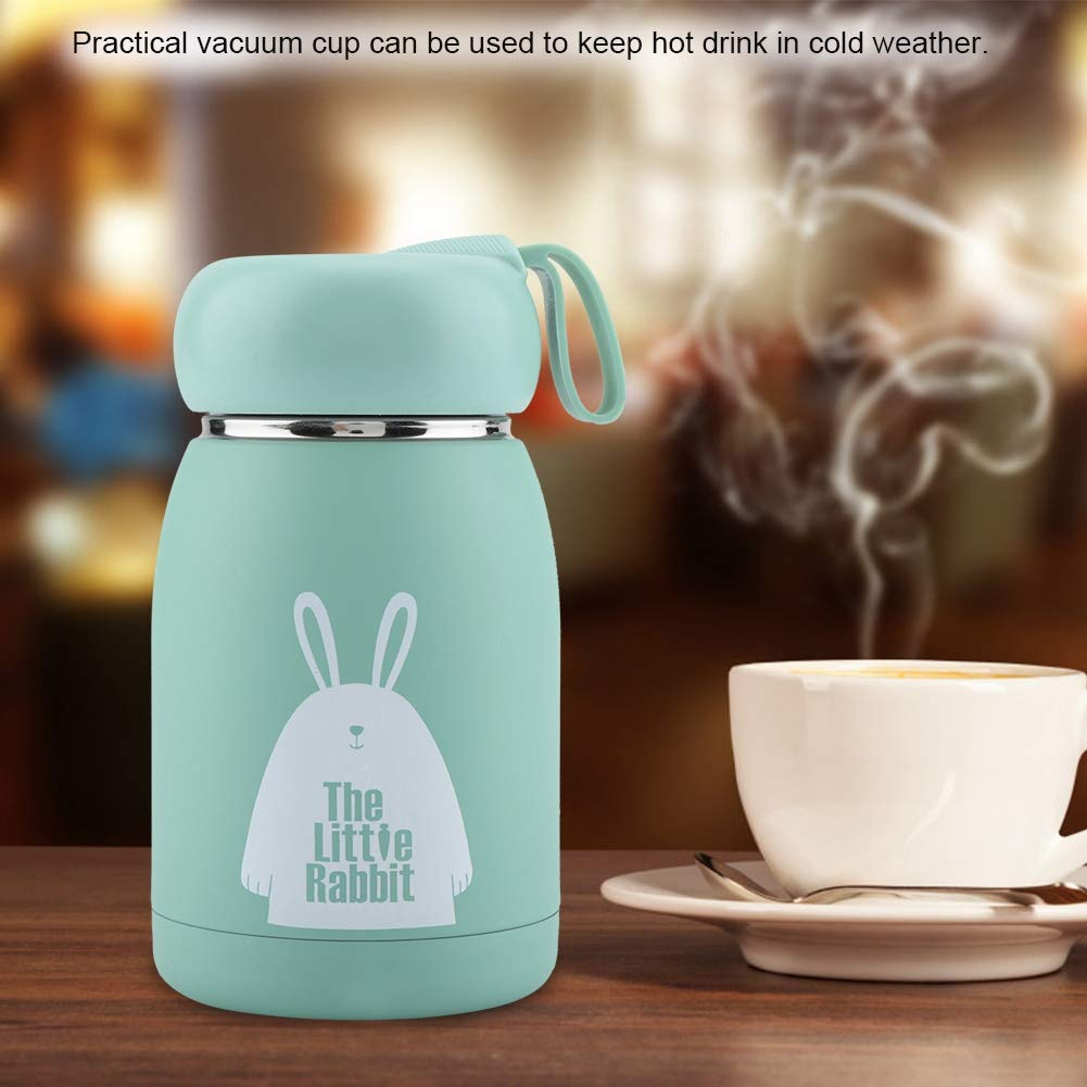Vacuum Cup Stainless Steel Lightweight Portable Cute Rabbit Pattern Vacuum Cup Mug Thermal Cup Water Bottle Home Travel Office School Picnic Coffee