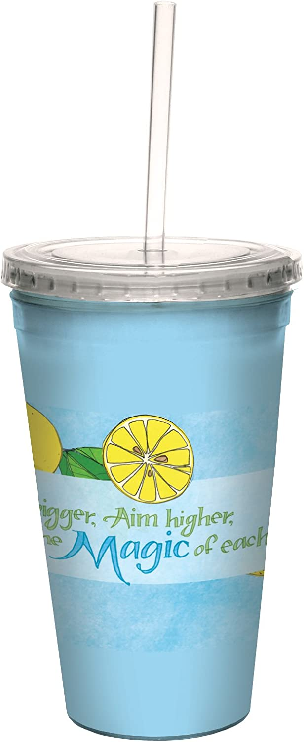 16-Ounce Tree-Free Greetings cc33457 Summery Dream Bigger with Lemons by Robin Pickens Artful Traveler Double-Walled Cool Cup with Reusable Straw