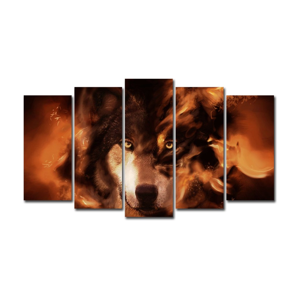 5 Pieces of Wall Art Painting Fire Wolf Modern Canvas Wall..