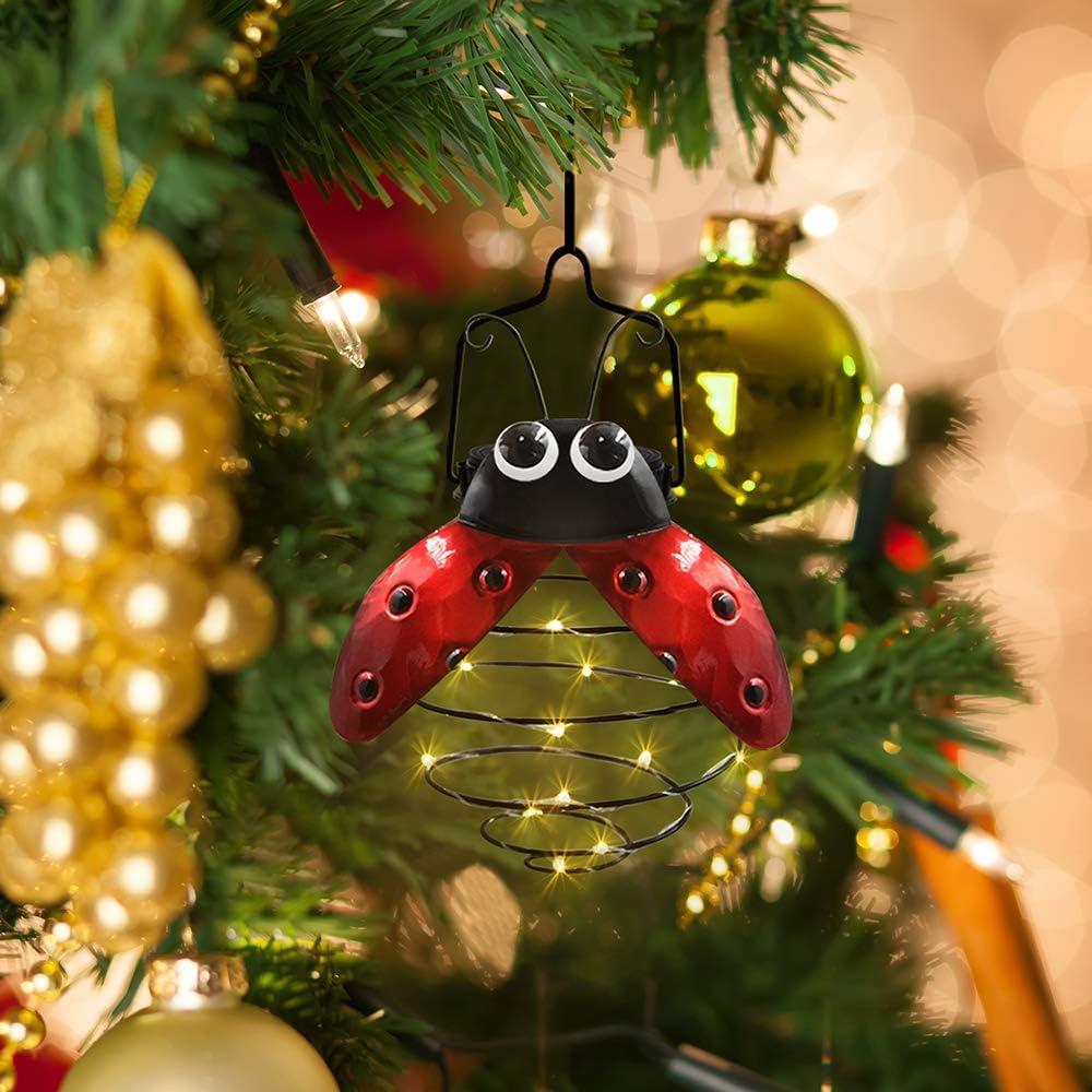 Petrala Solar Hanging Lantern Lights Outdoor 19 LEDs Metal Ladybug Rustic Garden for Patio Yard Porch Tree Christmas Decoration Gifts