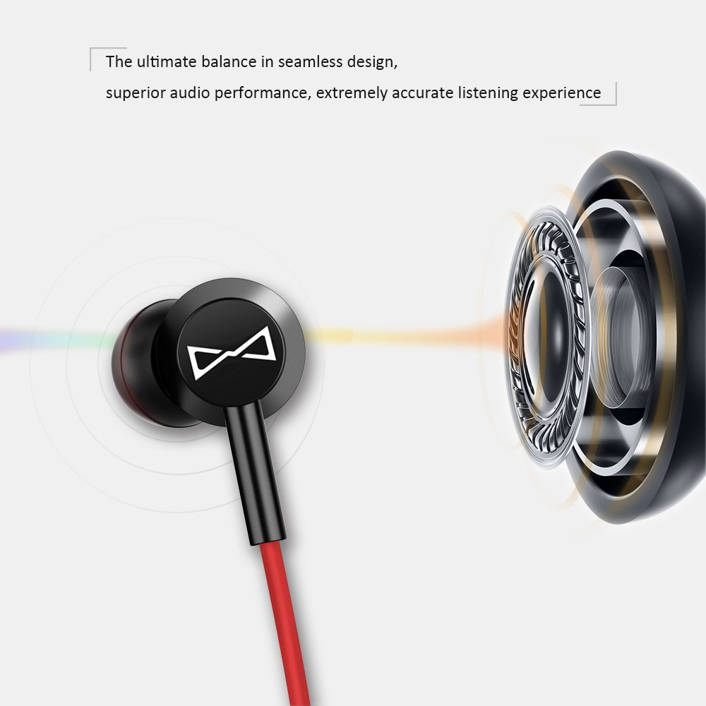 Marsno M2 Wired In Ear Headphones, Earbuds, Full Metal Earphones with Mic and Volume Control, High Definition, Noise Isolating, Heavy Deep Bass,Vibrant Range &Crystal Clear Sound (3.5mm Jack, Premium) by Marsno (Image #2)