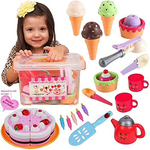 Pretend Play Food Ice Cream - Toy Food Desserts Cake - Play Tea set - with Beautiful Storage Box | Great for any Toy Kitchen Set or for Birthday (Toy Birthday Cake Set)