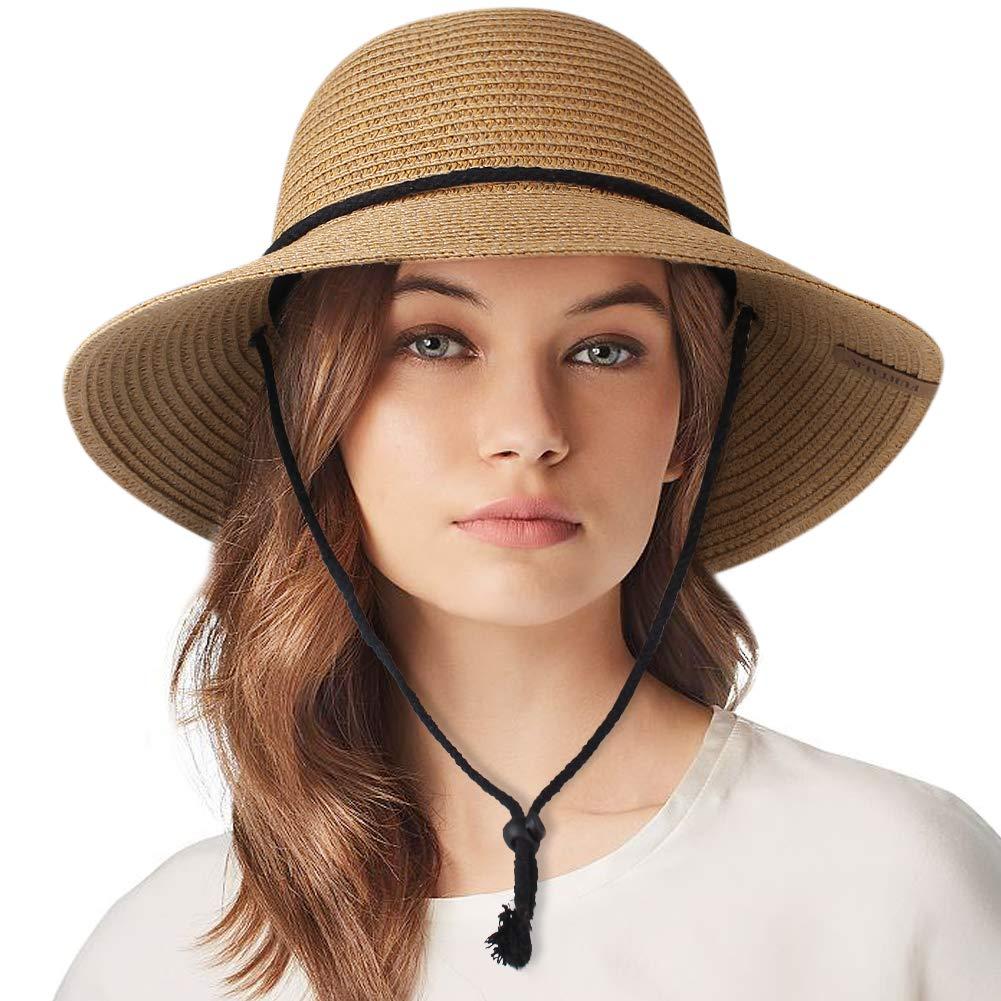 Womens Wide Brim Sun Hat with Wind Lanyard UPF 50 Summer Sun Straw Hats for Women by FURTALK