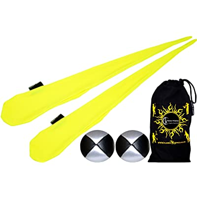Flames N Games Sock Poi Set (YELLOW) Pair of Quality Stretchy Lycra Spinning Poi Socks + 2x90g Balls & Travel Bag.: Toys & Games