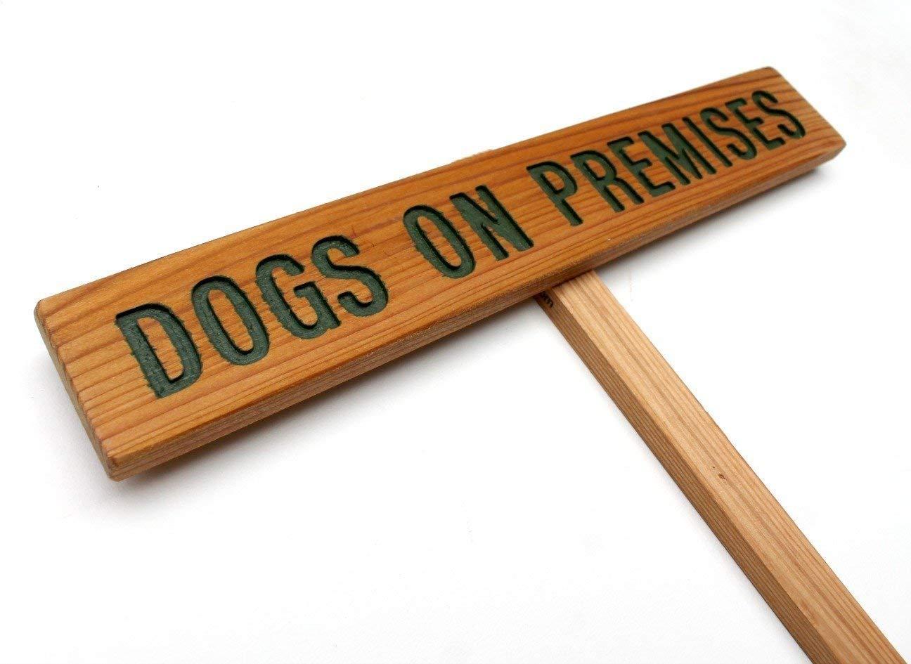 DOGS ON PREMISES Sign, Guard Dog Marker, Warning Sign, Driveway Marker, Outdoor Sign, Garden Marker, Dog Warning Sign, Dog Marker, Wood Sign, Yard Art