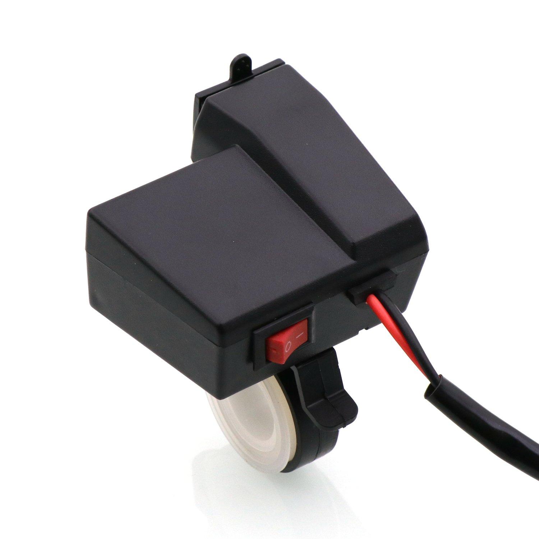 Timloon impermeabile moto 5/V 3.1/A Dual USB caricatore /& blu voltmetro tensione per 7//8/e 2,5/cm manubrio montaggio