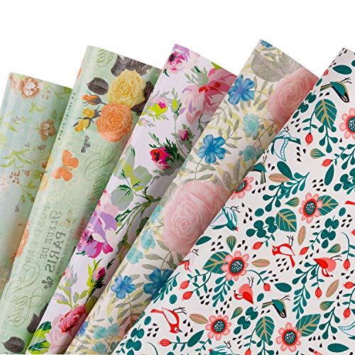 RUSPEPA Gift Wrapping Paper Sheets - Floral Design Perfect for Wedding,Birthday, Mothers Day, Congrats Gifts- 5 Folded Sheets-19.65 X27.5 Inch