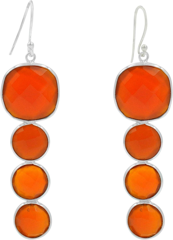 Silvesto India - Pendientes grandes de plata de ley 925, diseño de cornalina naranja