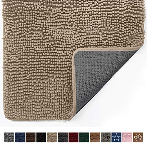 Gorilla Grip Original Indoor Durable Chenille Doormat, 24x17, Absorbent Machine Washable Inside Mats, Low-Profile Rug Doormats for Entry, Mud Room Mat, Back Door, High Traffic Areas, Beige