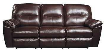 Amazoncom Ashley Kilzer DuraBlend Reclining Faux Leather Sofa In - Mahogany leather sofa