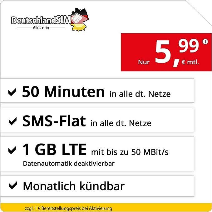 DeutschlandSIM Tarifa móvil con Tarjeta de prepago SIM y ...