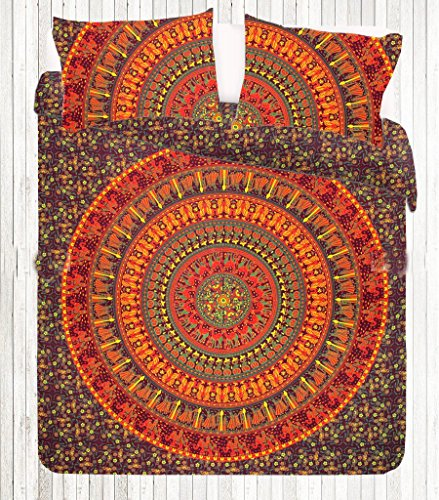Indian Orange Yellow Elephant Camel Peacock Mandala Bohemian Duvet Donna Cover Blanket Quilt Cover With Pillow covers By 'Sugun Creation Full Size (80x82 inches)