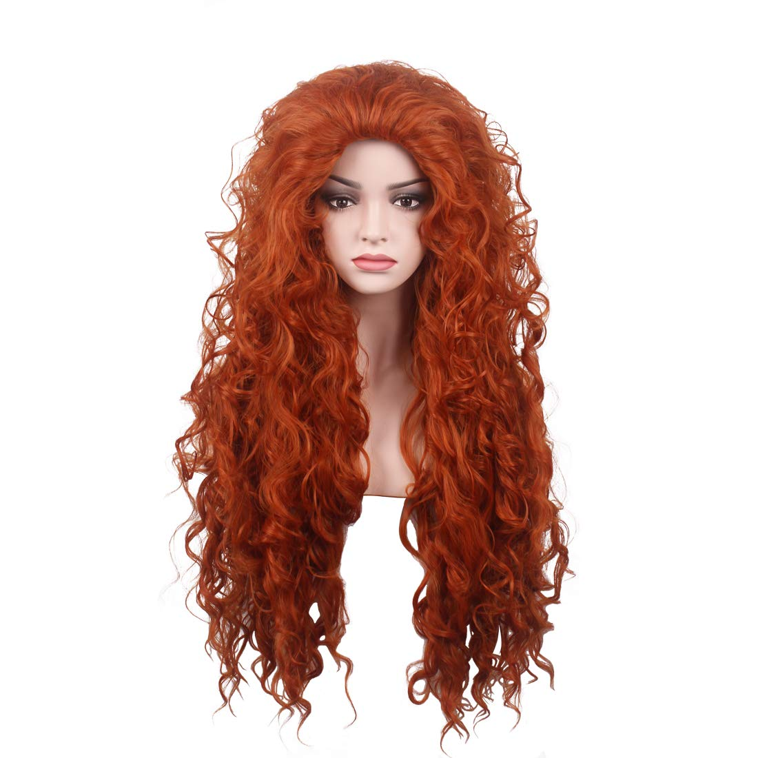 WildCos Long Orange Curly Cosplay Wig for Women MingDai