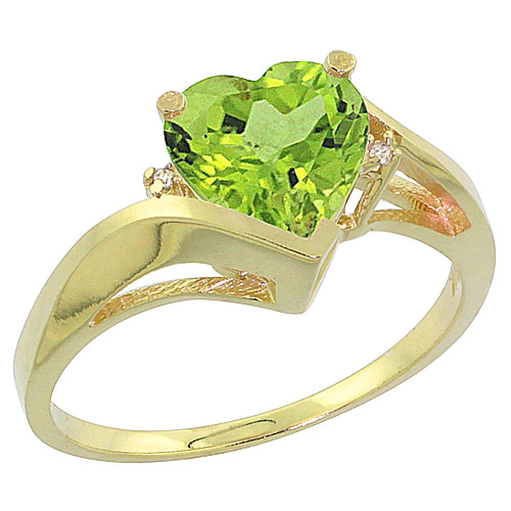 10K Yellow Gold Natural Peridot Heart Ring 7mm Diamond Accent, size 8