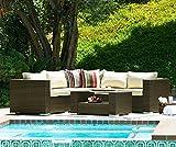 THY-HOM Kessler 4 Piece Outdoor Wicker Sectional Sofa Set