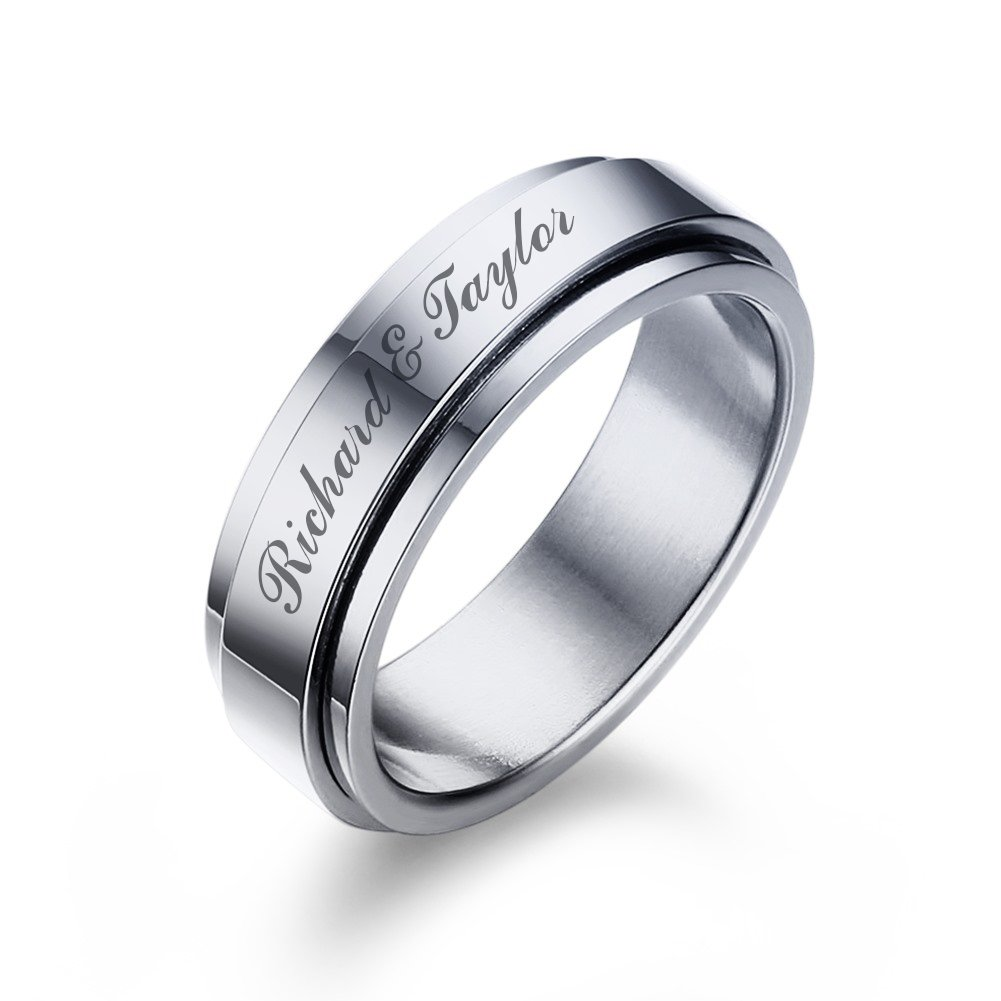 Mealguet Jewelry Personalized Stainless Steel Spinner Ring Band for Men Boy Custom Engraving Your Name Message Date Ring for Daily,size 9