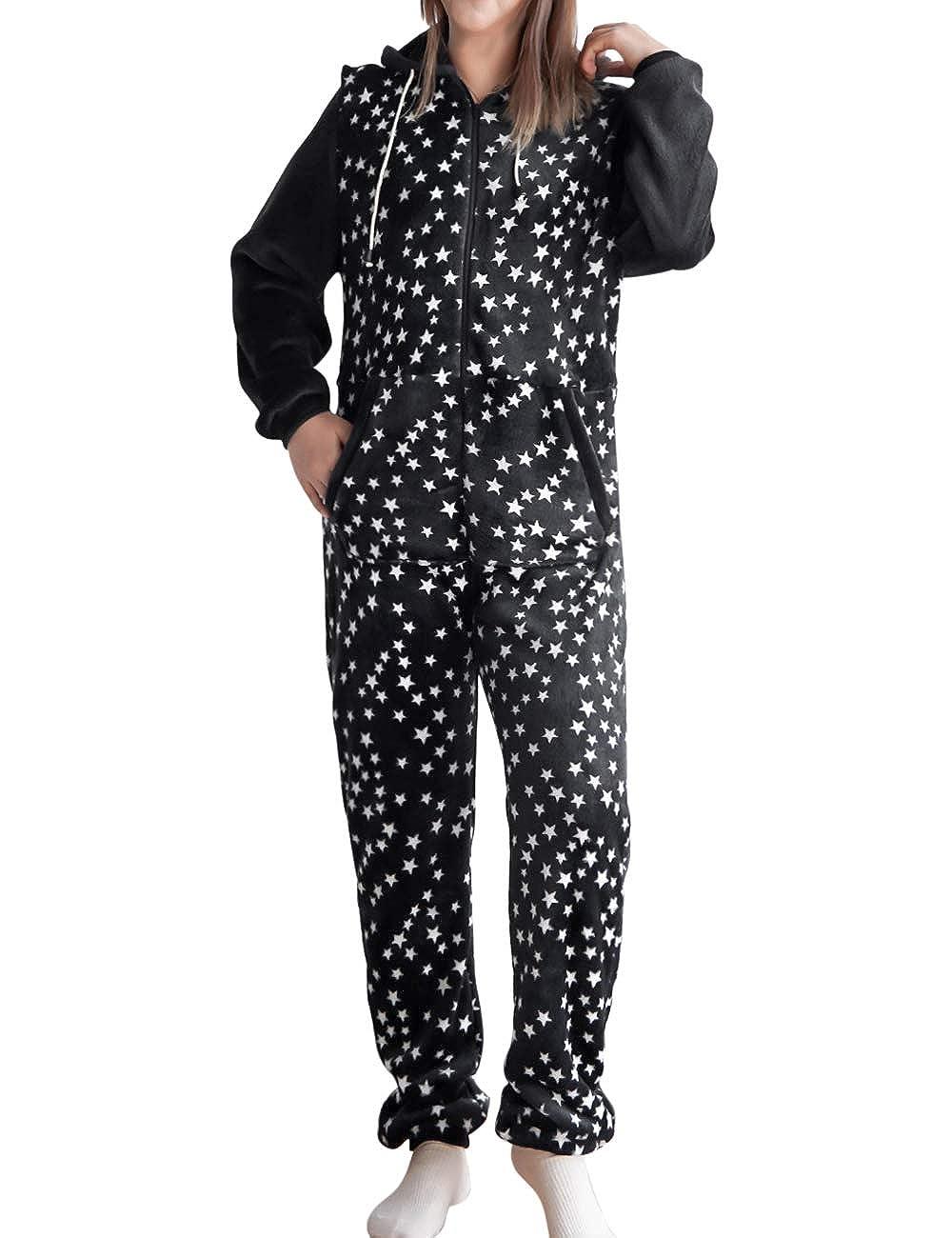 TALLA XL. besbomig Mono Pijama de Mujer Adulto Cálido Homewear Ropa de Dormir con Capucha - Invierno Suave Jumpsuits Trajes de Dormir Navidad, Negro