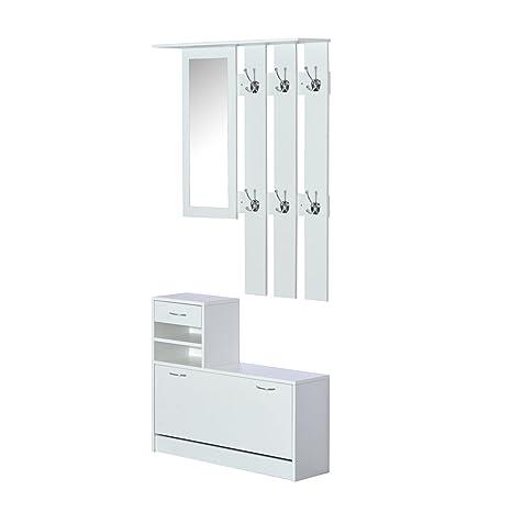 Homcom 3 In 1 Garderoben Set Garderobenpaneel Schuhschrank Mit