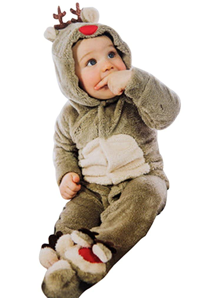 LUKYCILD Baby Boy Christmas Deer Romper Coral Fleece Warm Footie Jumpsuit G338