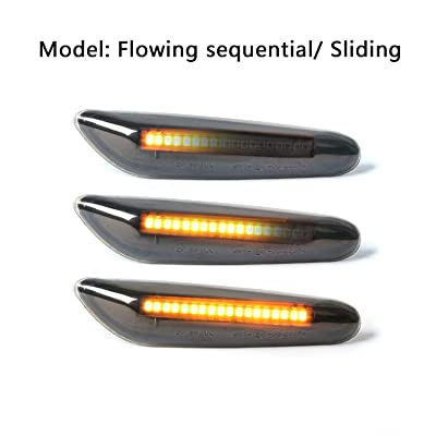 Gempro 2Pcs Sequential Amber LED Side Marker Turn Signal Light Lamp Assembly For BMW E84 E81 E82 E87 E88 E90 E91 E92 E93 E46 E53 X3 E83 X 1, Smoke Lens Style Black: Automotive
