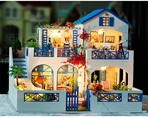 Luxury Deluxe 3D Wooden Puzzle Dollhouses with Lights, Super Vacation Villa / Meteor Garden Manual Assembly Building House/ 3D Wooden Jigsaw Puzzle Kit for Christmas / New Year/ Birthday/ Wedding Gift