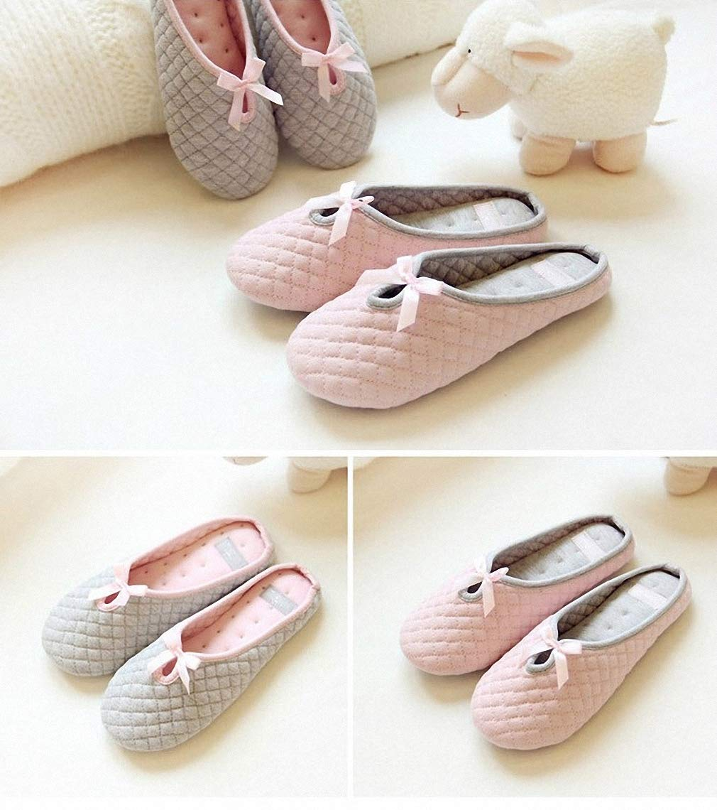 Womens Lovely Bowtie Winter Women Home Slippers Indoor Bedroom House Soft Bottom Cotton Warm Shoes Flats