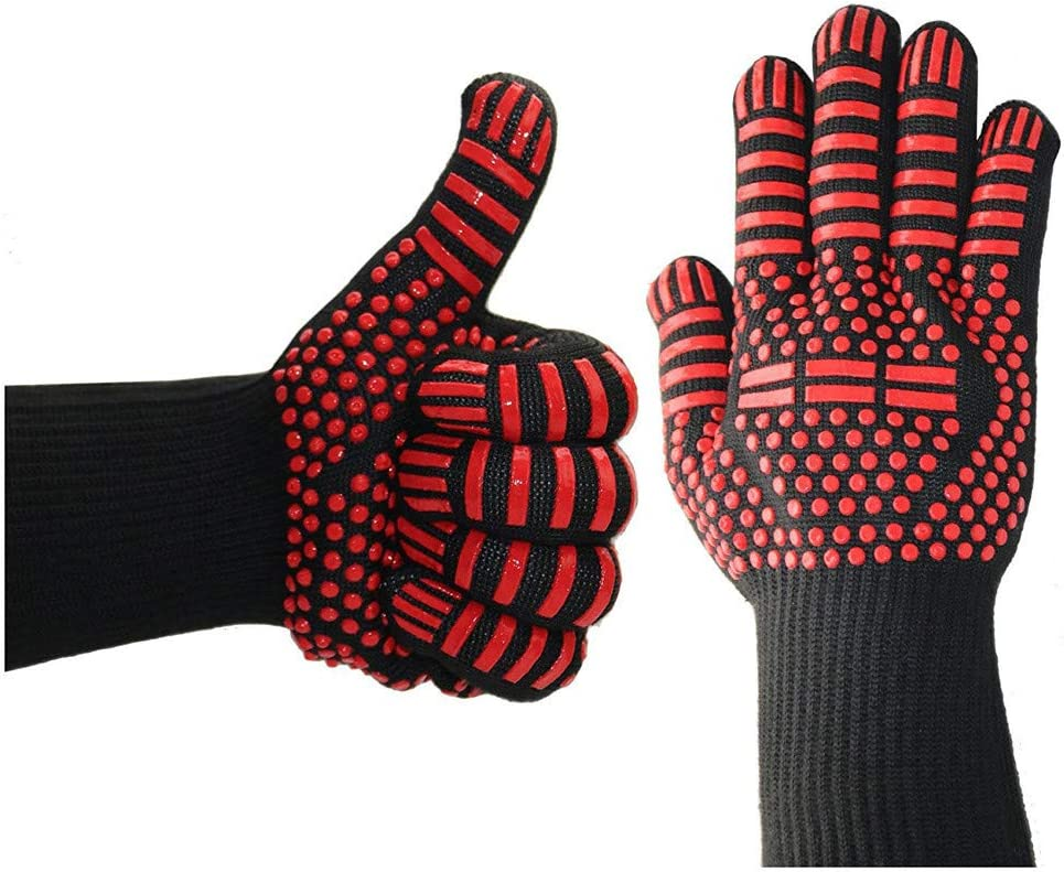 Allywit Unisex Barbecue Microwave Oven High Non-SLI Temperature Insulation Anti-scalding Gloves (G)