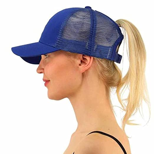 9a5bdfb4 Challyhope Ponytail Messy Buns Mesh Trucker Ponycaps Adjustable Plain  Baseball Visor Cap Dad Hat (Blue
