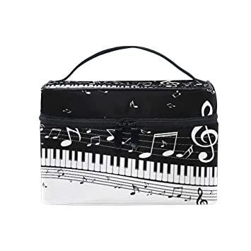 0c04a0bf2af7 Amazon.com : JOKERR Makeup Bag, Abstract Music Note Piano Portable ...