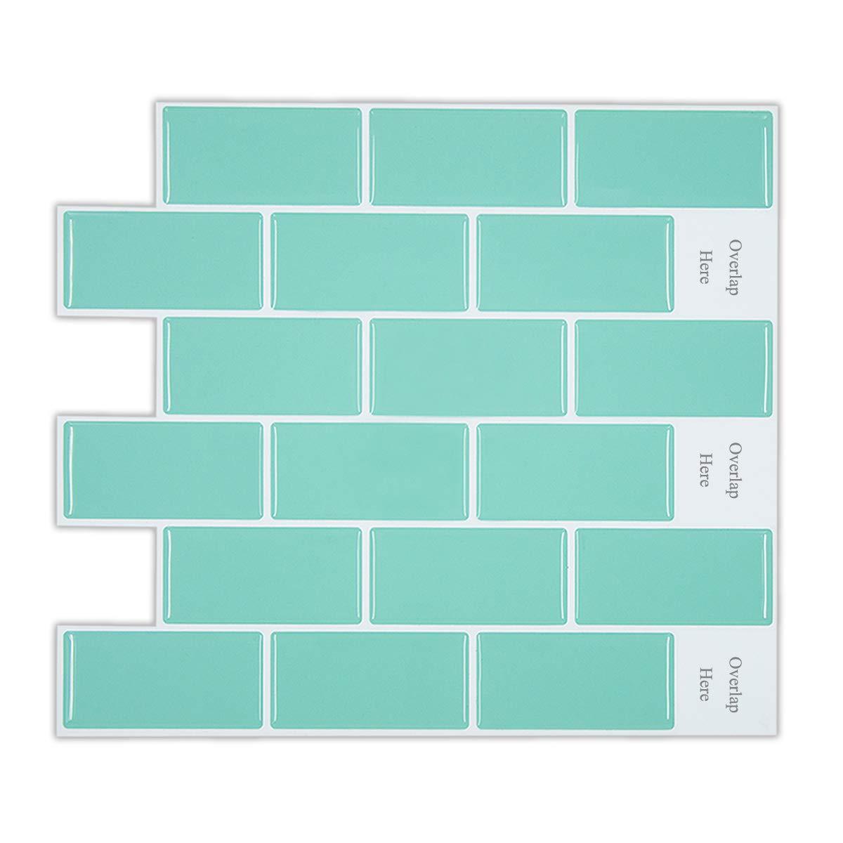 HUE DECORATION Peel and Stick Subway Tile Backsplash for Kitchen, Anti Mold Aqua Backsplash Tile 11.26'' x 10'' Pack of 6