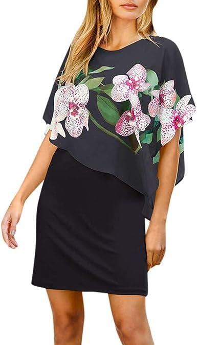 Auifor Vestido de Gasa con Cuello Redondo y Estampado Floral de ...