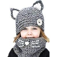 Tukistore Invierno Lana Tejida Sombreros Bufandas Lindo Gato Gorrita Tejida Bufanda de Punto Sombrero Gorra Bufanda para…