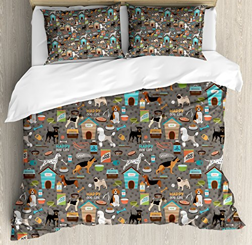 Ambesonne Dog Lover Duvet Cover Set Queen Size by, Paw Print Background with Pet Canine Accessories Balls Carry Bags Leash Food Bowl, Decorative 3 Piece Bedding Set with 2 Pillow Shams, Multicolor -