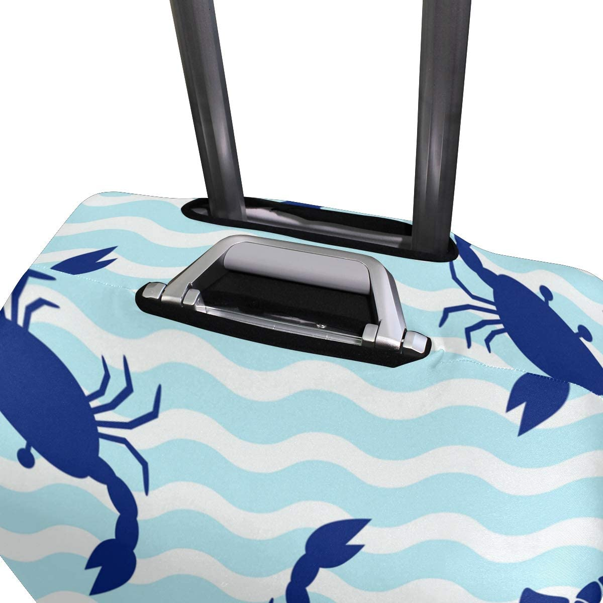 Travel Luggage Cover Royal Blue Crab Light Wave Suitcase Protector