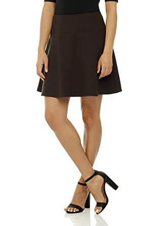 a88319ccc9f Rekucci Women s Ease in to Comfort Wide Waist Flared Flippy Skirt Luxe Ponte  at Amazon Women s Clothing store